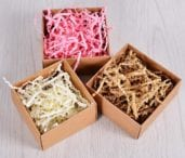 crinkle shredded paper in small gift boxes